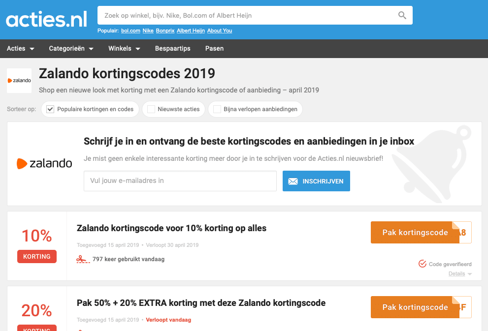 Affiliate kortingscode sites