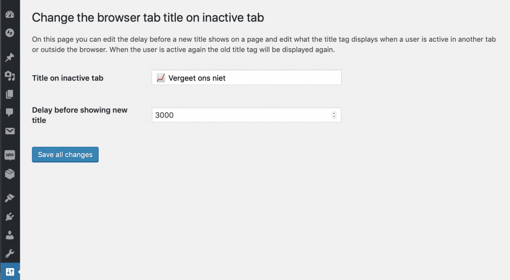 WordPress admin scherm