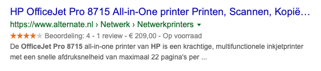 Rich snippet product voorbeeld
